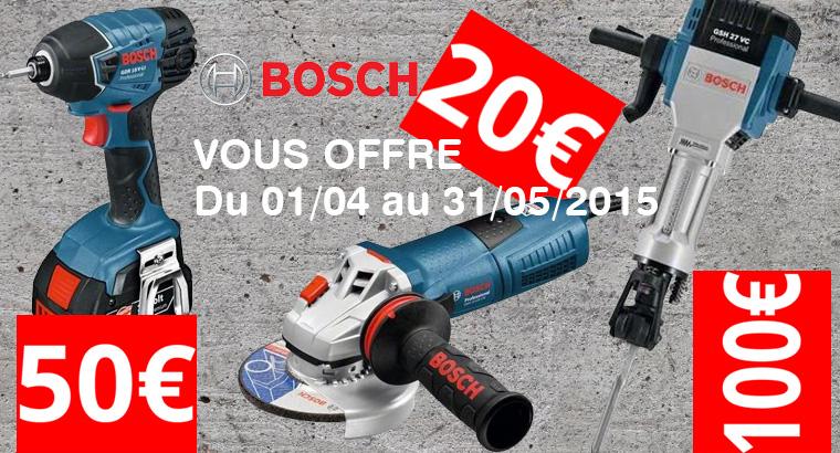 Flyer d'une offre de remboursement pour l'outillage Bosch