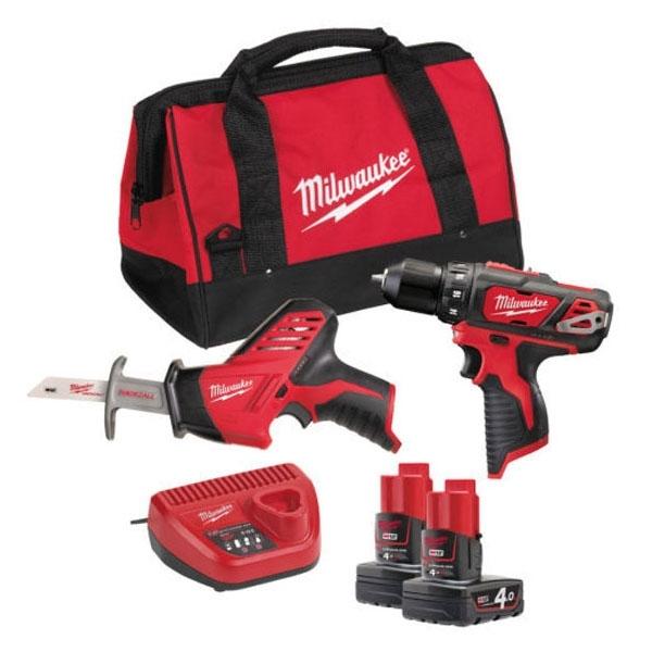 Pack d'outils milwaukee : perceuse, visseuse et scie sabre