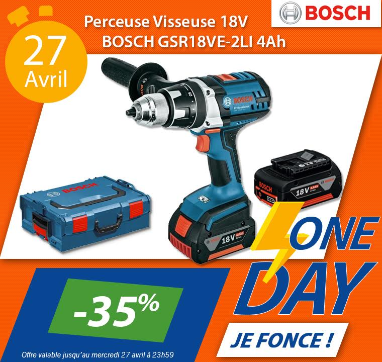 Flyer de la vente flash du BOSCH Perceuse visseuse 18V - GSR18VE-2LI 4Ah