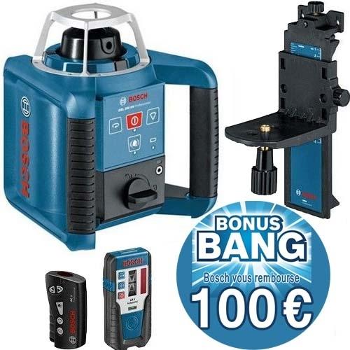 BOSCH Laser rotatif auto H et V 300 m GRL300HV 0601061501 et son offre Bonus Bang 100€ remboursé